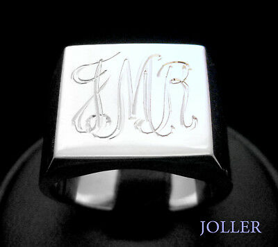 SIGNET RING MENS SQUARE 15mm CUSTOM HAND ENGRAVED INITIALS SILVER BY JOLLER