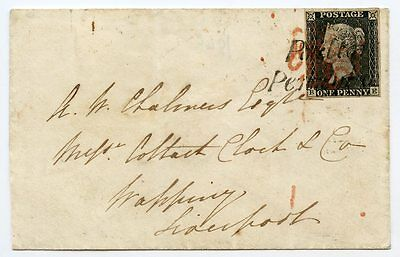 "1840 cover 1d grey-black pl. 2  BE to Liverpool with""Poulton / Penny Post"" h/s"