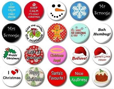 "CHRISTMAS (Various Designs) - 1"" / 25mm Button Badge - Choose From 20 Cute Xmas"