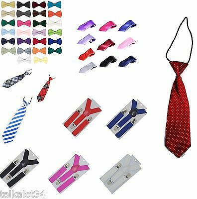 Kids Bow Tie Suspenders Pre-Tied Boys Child Pet Bow Premium Ties Wedding