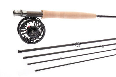 FLY FISHING ROD HI END COMBO 8ft.LW4,4Pc Rod,Fly Reel,Lines,Backing,50 Flies