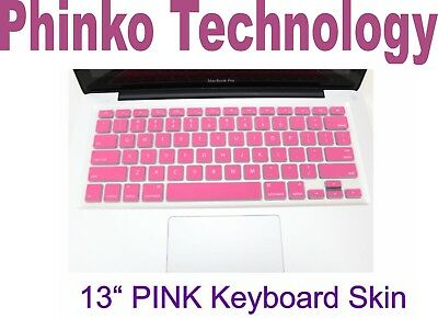 """New Silicone Keyboard Cover Skin For Apple New Macbook Air 13"""" 13.3"""" Pink"""