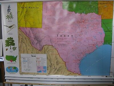 nystrom PULL DOWN SCHOOL MAP, world, u.s., and texas, 3 LAYERS (1NS981), NEW!!!