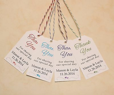 Personalized Wedding Party Thank You Favor Tags - Gift Bag Tags