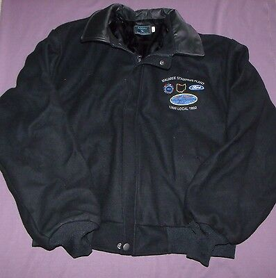 Ford Motor Company Maumee Stamping Plant Jacket Coat Leather Collar Size XL