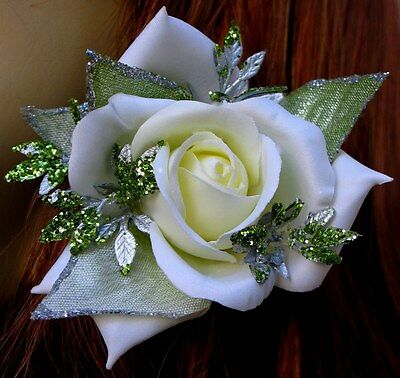 Small White-Ivory Rose W/ Pale Green Sparkle Accents Clip, Rose Hair Clip