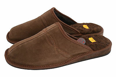 Mens Slipper Shoes Mule Sheep's Wool Leather Brown Black Suede