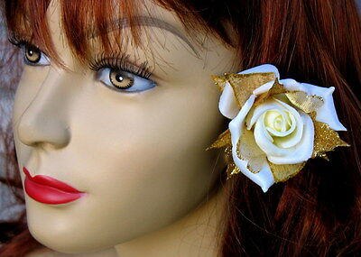 Small White-Ivory Rose With Gold Sparkle Accents Clip, Rose Hair Clip