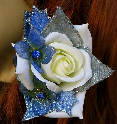 Small White-Ivory Rose With Blue Sparkle Accents Clip, Rose Hair Clip