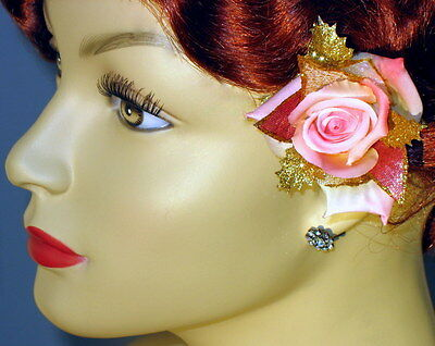 """Small Pink-Ivory """"Marble"""" Rose W/ Pink/Gold Sparkle Accents Clip, Rose Hair Clip"""