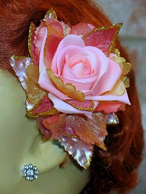 Pink Rose W/ Pink & Gold Sparkle Accents Clip-Pin, Rose Hair Clip
