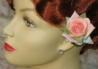 Small Peach-Pink Rose W/ Pale Green/Silver Sparkle Accents Clip, Rose Hair Clip