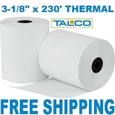 "3-1/8"" x 230' THERMAL PoS RECEIPT PAPER - 10 NEW ROLLS  ** FREE SHIPPING **"