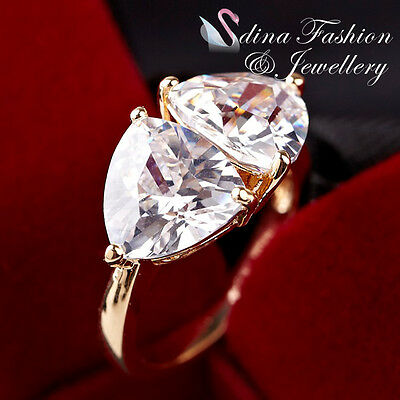 18K Yellow Gold Plated AAA Grade Cubic Zirconia Double Heart Cluster Ring