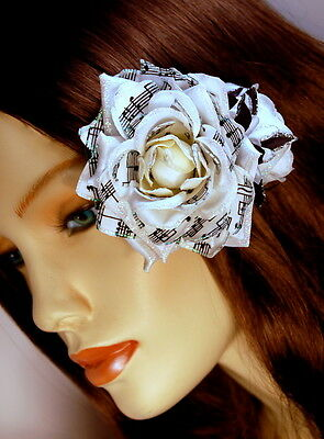 White Sparkle Rose Cluster Clip-Pin W/ Musical Note Print Petals