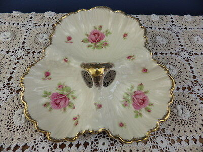 CROWN DUCAL PINK ROSE Rd No 30772 3 SECTIONED DISH