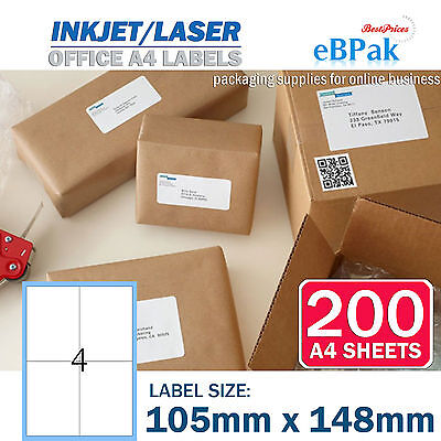 200x A4 Office Mailing Address label 4 up 105 x 148mm Peel & Paste Label - 4UP