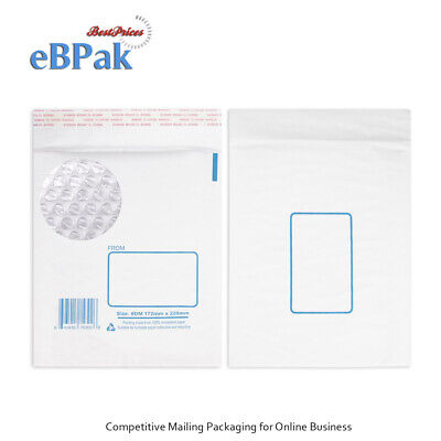 200x Bubble Mailer #DM 172x220mm White Printed Padded Bag Kraft Envelope