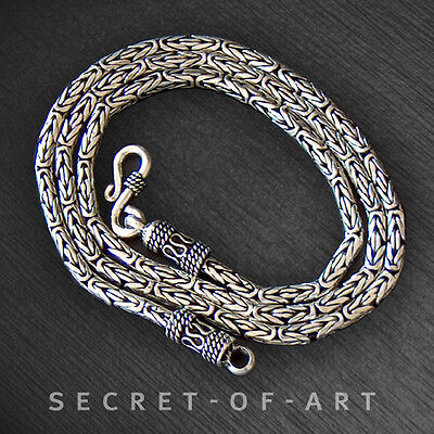STERLING SILVER 925 - BYZANTINE KING CHAIN NECKLACE 3mm: Many lengths selectable