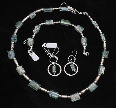 Set Of Roman Glass Bracelet, Earrings & Necklace Sterling Silver 925 #3