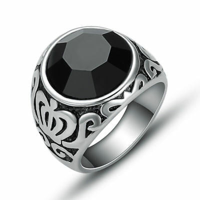 316L Stainless Steel Fashion Mens Crown Back Agate Stone Ring Jewelry Size 8-11