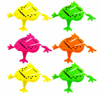 6 Jumping Plastic Frogs - Pinata Toy Loot/Party Bag Fillers Wedding/Kids