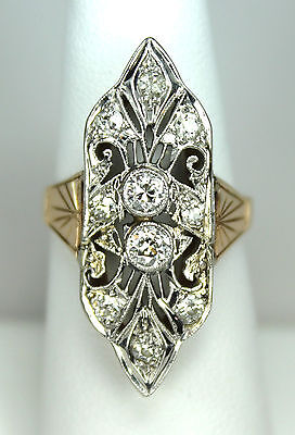Antique Estate Art Nouveau Deco 14k Rose & White Gold .81ctw Diamond Ring c1920s