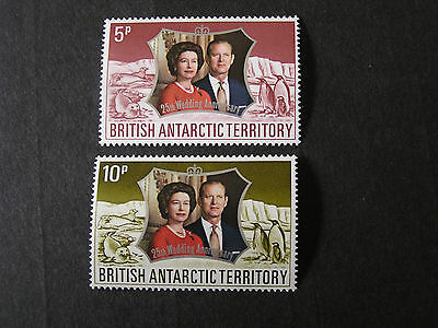 British Antarctic Territory, Scott # 43/44(2) 1972 Silver Wedding Issue Mnh
