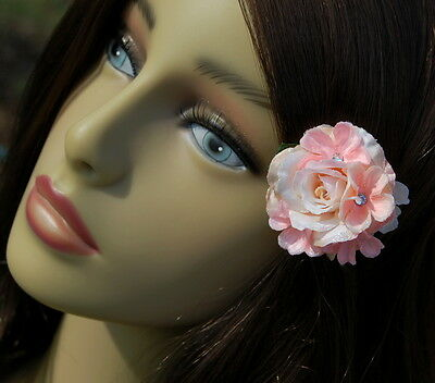 """Mini """"Pink Champagne"""" Rose Clip W/ Sparkle Accents & Jeweled Phlox"""