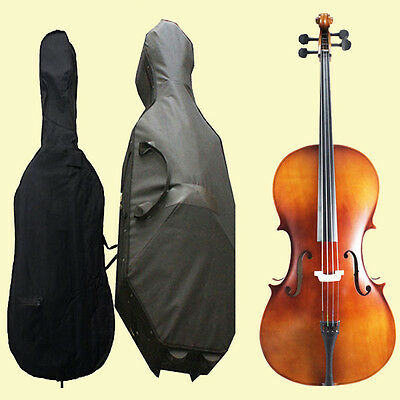 Full Size 4/4 Acoustic Cello 4/4 Cello +Bag+Case+Bow+Bridge-Stain Finish Cello