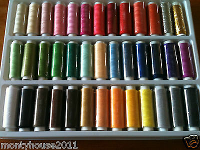NEW!!!!!!!39 Spools 39 Colors Sewing Thread 100% Polyester 200 Yards