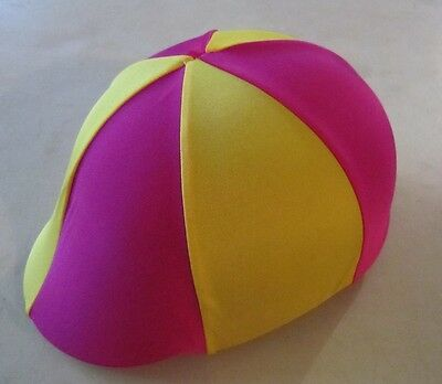Horse Helmet Cover ALL AUSTRALIAN MADE Hot pInk & Yellow Any size you need