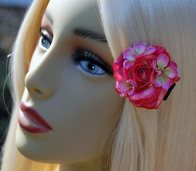 Bright Pink Mini Rose Clip With Sparkle Accents & Jeweled Phlox