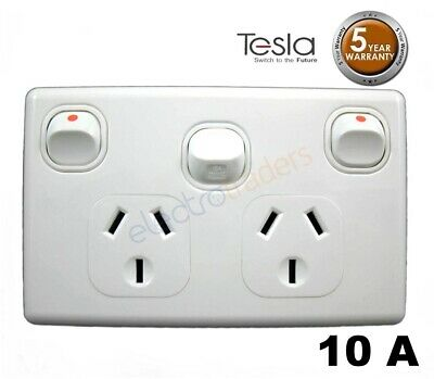Power Point Double 240 V 10 Amp GPO with Extra Switch Tesla Standard Series