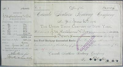 1st Stock Share Certificate Issued - Canada Southern Railway Company (1878)