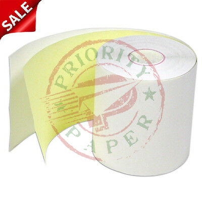 "3"" x 90' 2-PLY CARBONLESS PoS RECEIPT PAPER - 100 NEW ROLLS  ** FREE SHIPPING **"