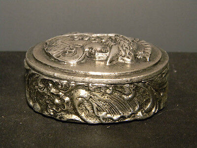 Pewter Centurian Box Heavy over three inches wide  (1056)