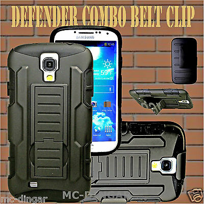 Black Defender Hybrid Rugged Combo Belt Clip Included For Samsung Galaxy S4