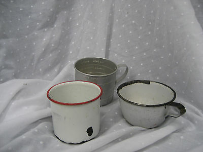 Antique metal cups with enamel chipped aluminum measuring cup