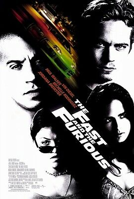 THE FAST AND THE FURIOUS Movie Poster [Licensed-New-USA] Paul Walker (2001)