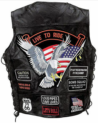 Veste CUIR Homme Biker USA Full Patch Live To Ride Gilet Aigle Route 66 - M NEUF