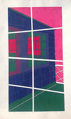 DOOR TO DISCOVERY 1995 Ltd Ed Handpulled  Colorful Silkscreen Print Door Windows