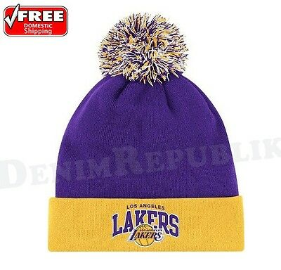 LOS ANGELES LAKERS Mitchell & Ness Cuffed Knit NBA Beanie Pom Team Colors HWC