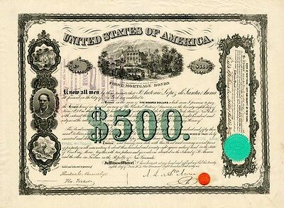 XXX-RARE HISTORIC ORIG 1866 MEXICO SANTA ANA BOND w AUTOGRAPH! $250,000 on EBAY!