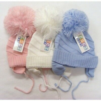 Baby Boys Girls Pompom Winter Hats White Blue Pink
