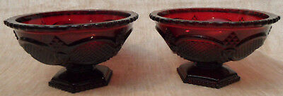 2 Avon Cape Cod Ruby Red Footed Candy Dish Bowl