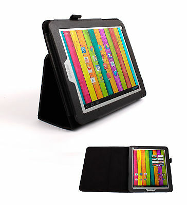 Black Custom Leather Case For Archos 80 Titanium Tablet w/ Folding Stand