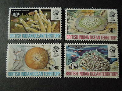"""British Indian Ocean Territory, Scott # 44-47(4) 1972 """"coral"""" Issue Mnh"""