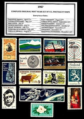 1967 COMPLETE YEAR SET OF MINT NH (MNH) VINTAGE U.S. POSTAGE STAMPS