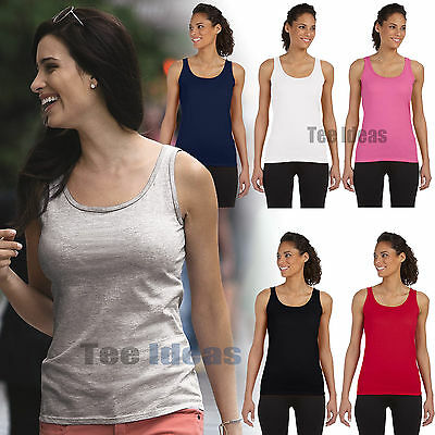 5692da72 NEW Gildan Ladies Junior Fit Softstyle Tank Top S-3XL Womens Sizes G642L